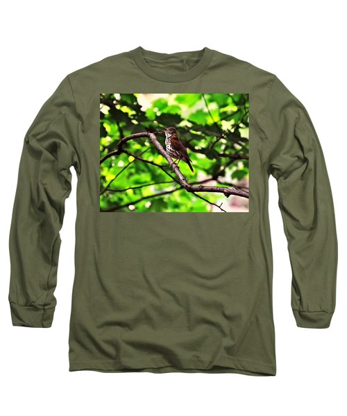 Wood Thrush Singing Long Sleeve T-Shirt by Chris Flees