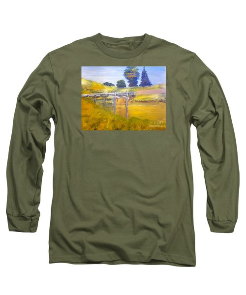 Long Sleeve T-Shirt featuring the painting Wooden Bridge At Graften by Pamela  Meredith