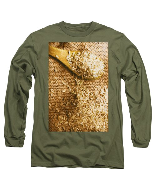 Wooden Tablespoon Serving Of Uncooked Brown Rice Long Sleeve T-Shirt
