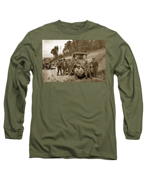 Workers On Highway One Monterey Carmel Hill California 1929 Long Sleeve T-Shirt by California Views Mr Pat Hathaway Archives
