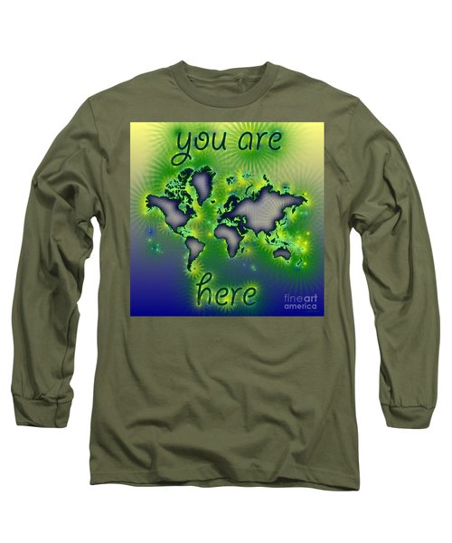 World Map You Are Here Amuza In Blue Yellow And Green Long Sleeve T-Shirt by Eleven Corners