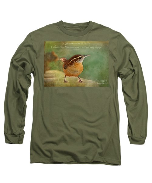 Wren With Verse Long Sleeve T-Shirt by Debbie Portwood