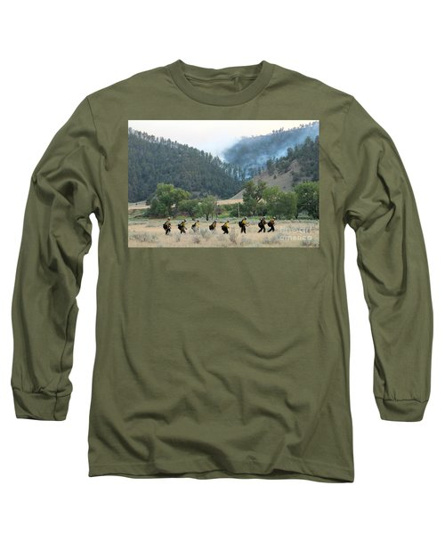 Long Sleeve T-Shirt featuring the photograph Wyoming Hot Shots Walk To Their Assignment by Bill Gabbert
