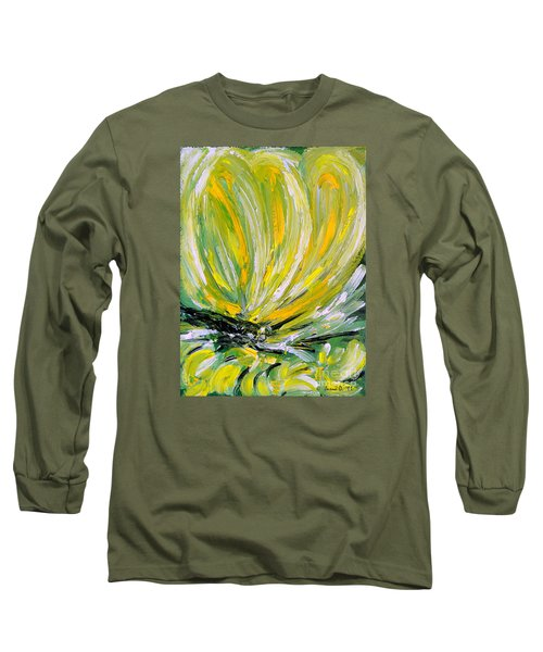 Yellow Butterfly Long Sleeve T-Shirt by Jasna Dragun