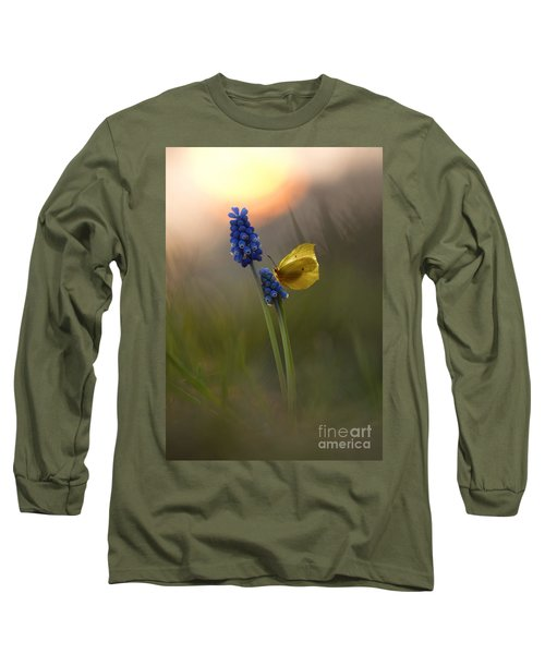 Yellow Butterfly On Grape Hyacinths Long Sleeve T-Shirt