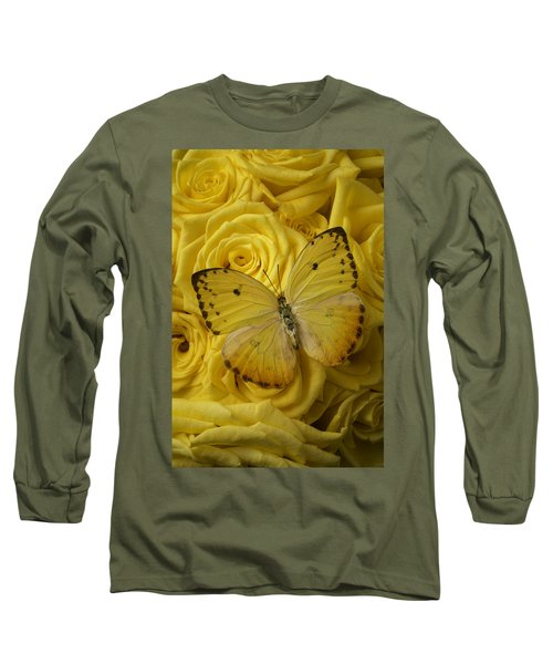 Yellow Butterfly On Yellow Roses Long Sleeve T-Shirt