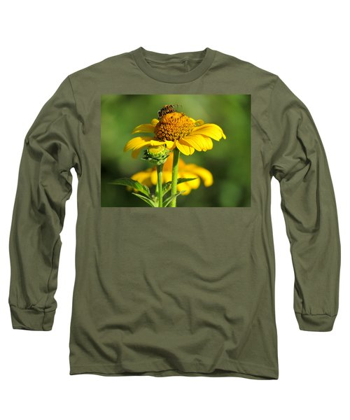 Yellow Daisy Long Sleeve T-Shirt by David T Wilkinson
