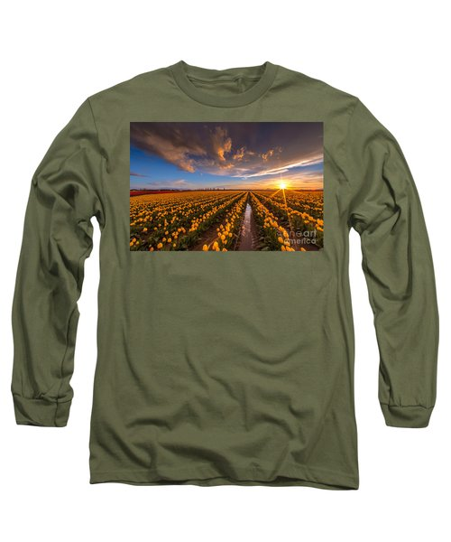 Yellow Fields And Sunset Skies Long Sleeve T-Shirt by Mike Reid