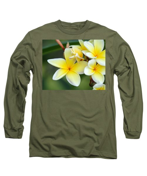Yellow Frangipani Flowers Long Sleeve T-Shirt