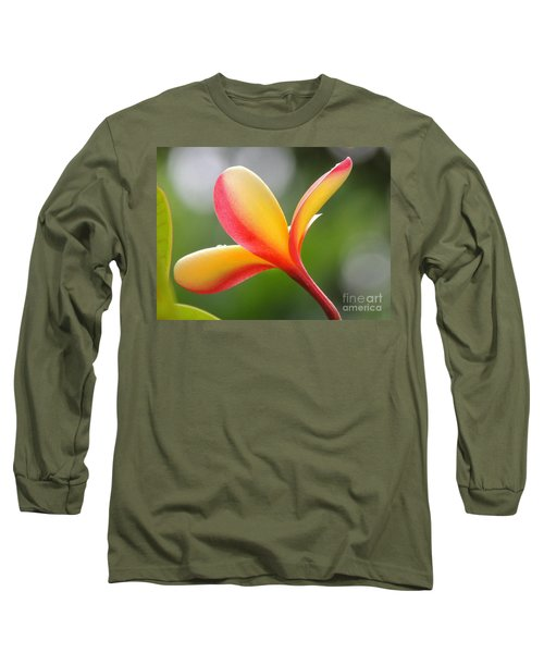 Yellow Pink Plumeria Long Sleeve T-Shirt by Kristine Merc