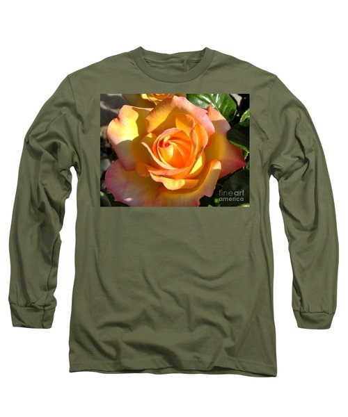 Yellow Rose Bud Long Sleeve T-Shirt by Debby Pueschel