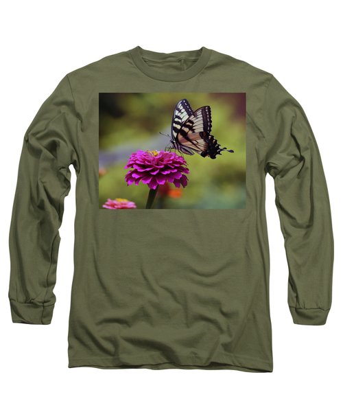 Long Sleeve T-Shirt featuring the photograph Yellow Tiger Swallowtail Butterfly by Kay Novy