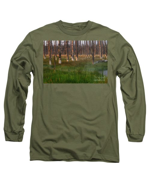 Long Sleeve T-Shirt featuring the photograph Yellowstone Mysterious Morning by Teresa Zieba