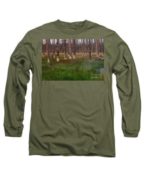 Yellowstone Mysterious Morning Long Sleeve T-Shirt by Teresa Zieba