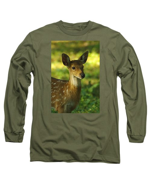 Young Spotted Deer Long Sleeve T-Shirt by Jacqi Elmslie