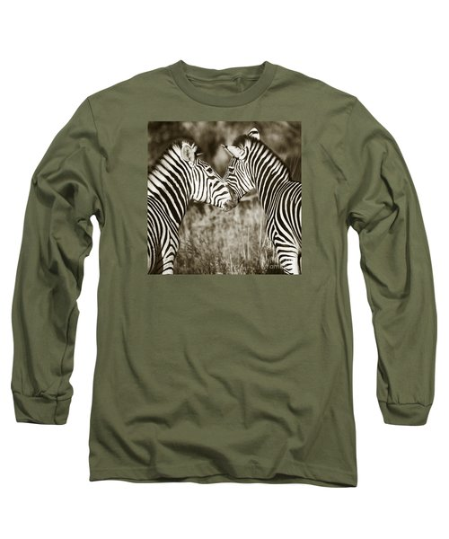Zebra Affection Long Sleeve T-Shirt by Liz Leyden