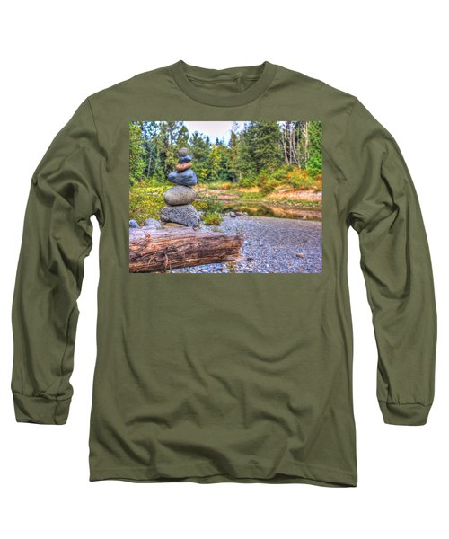 Long Sleeve T-Shirt featuring the photograph Zen Balanced Stones On A Tree by Eti Reid