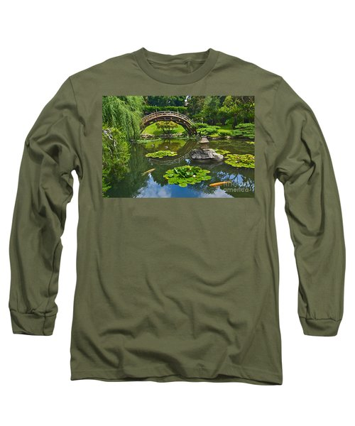 Zen - Japanese Garden With Moon Bridge And Lotus Pond With Koi Fish. Long Sleeve T-Shirt