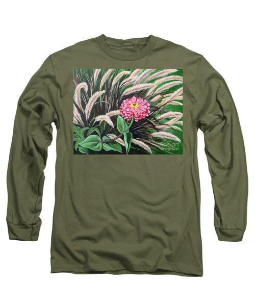Zinnia Among The Grasses Long Sleeve T-Shirt
