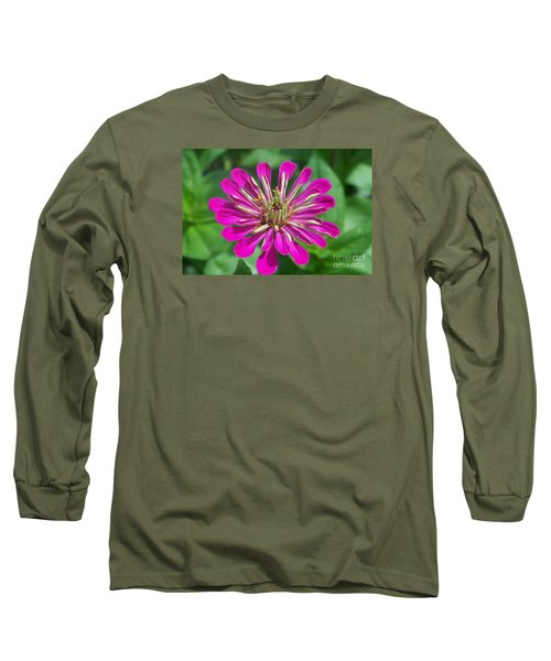 Long Sleeve T-Shirt featuring the photograph Zinnia Opening by Eunice Miller