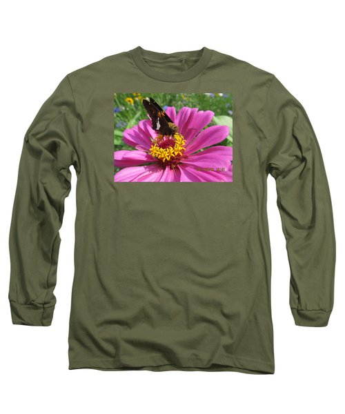 Long Sleeve T-Shirt featuring the photograph  Butterfly On Pink Flower by Tina M Wenger