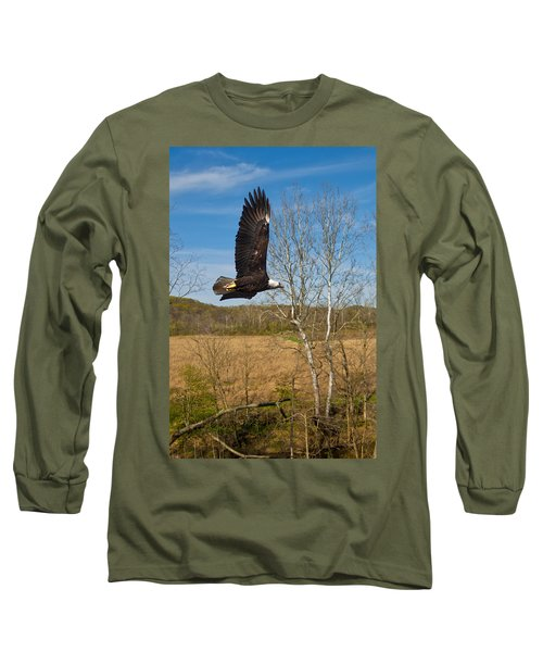 Long Sleeve T-Shirt featuring the photograph  Eagle Circleing Her Nest by Randall Branham