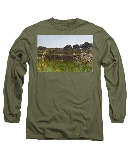 Beautiful California Vineyard Framed With Flowers Long Sleeve T-Shirt