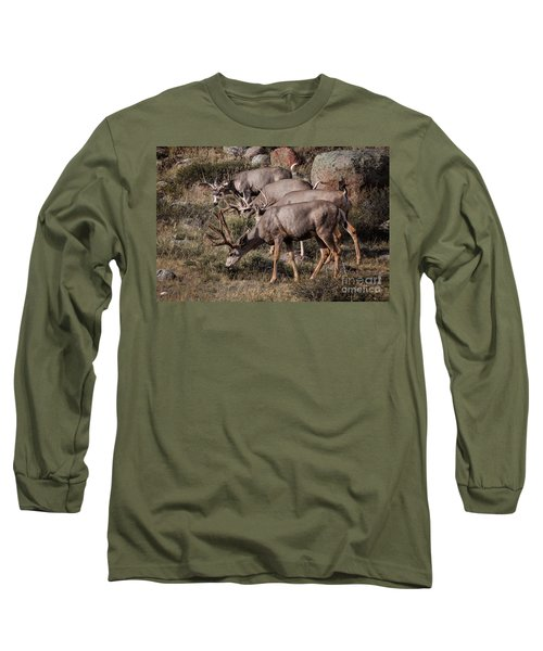 Mule Deer Bucks Long Sleeve T-Shirt by Ronald Lutz