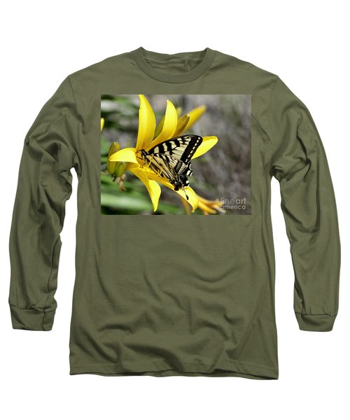 Swallowtail Yellow Lily Long Sleeve T-Shirt by Diane E Berry