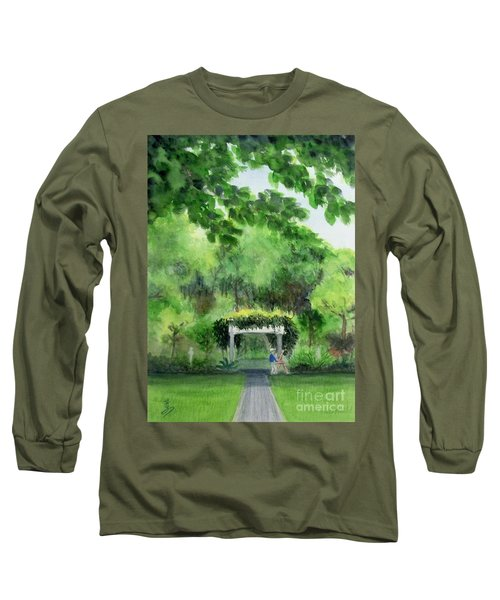 Long Sleeve T-Shirt featuring the painting the garden at the wellers carriage house in Saline  Michigan 1 by Yoshiko Mishina