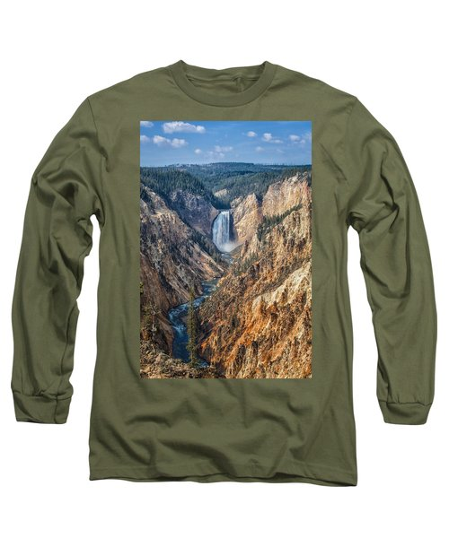 Yellowstone Lower Falls Long Sleeve T-Shirt by Ronald Lutz