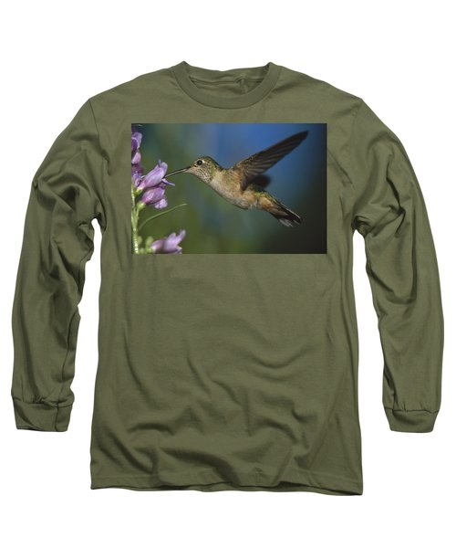 Broad Tailed Hummingbird Feeding Long Sleeve T-Shirt