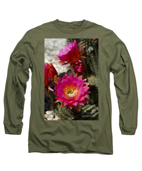 Pink Cactus Flowers Long Sleeve T-Shirt by Jim And Emily Bush