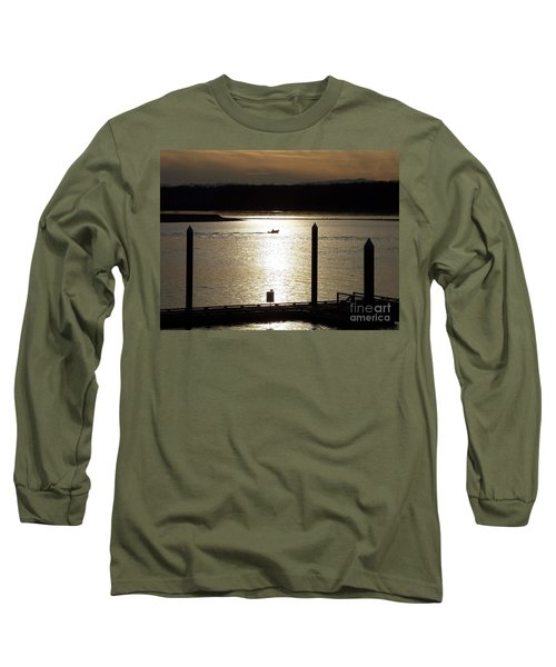 A Lone Boat At Sunset Long Sleeve T-Shirt by Chalet Roome-Rigdon