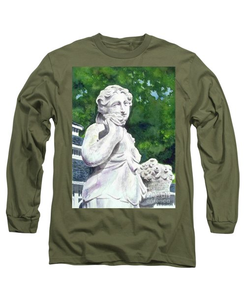 Long Sleeve T-Shirt featuring the painting A Statue At The Wellers Carriage House -1 by Yoshiko Mishina