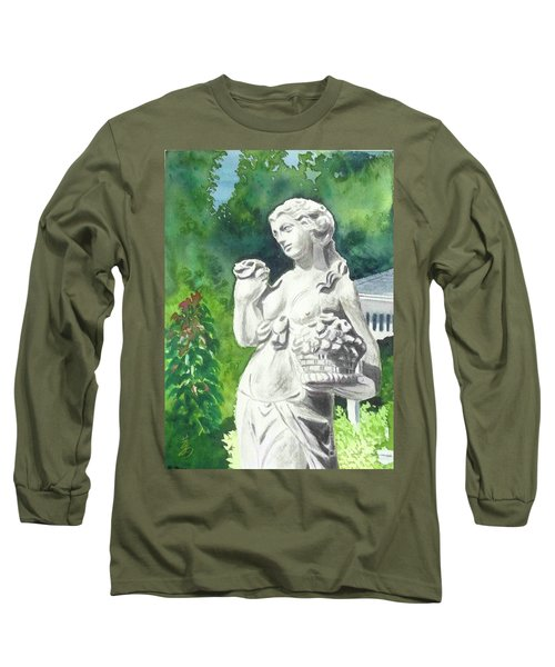 Long Sleeve T-Shirt featuring the painting A Statue At The Wellers Carriage House -2 by Yoshiko Mishina