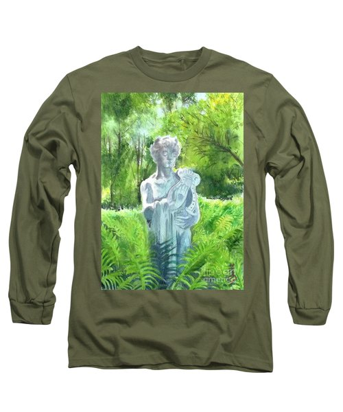 Long Sleeve T-Shirt featuring the painting A Statue At The Wellers Carriage House -4 by Yoshiko Mishina