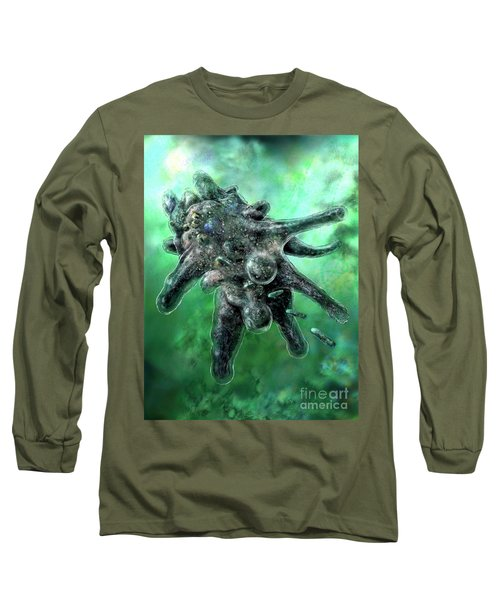 Long Sleeve T-Shirt featuring the digital art Amoeba Green by Russell Kightley