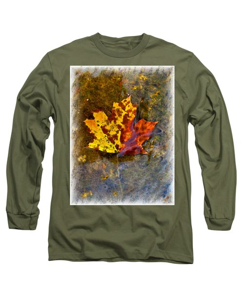 Long Sleeve T-Shirt featuring the digital art Autumn Maple Leaf In Water by Debbie Portwood