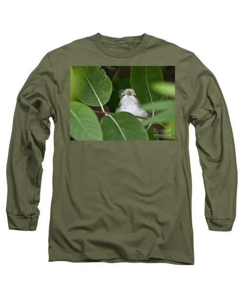 Long Sleeve T-Shirt featuring the photograph Baby Bird Peeping In The Bushes by Jeannette Hunt