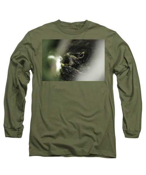 Long Sleeve T-Shirt featuring the photograph Baby Robin by Tom Gort