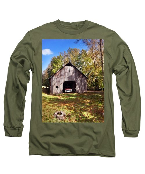 Long Sleeve T-Shirt featuring the photograph Barn An Chevy by Janice Spivey