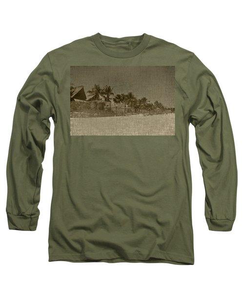 Beach Huts In A Tropical Paradise Long Sleeve T-Shirt