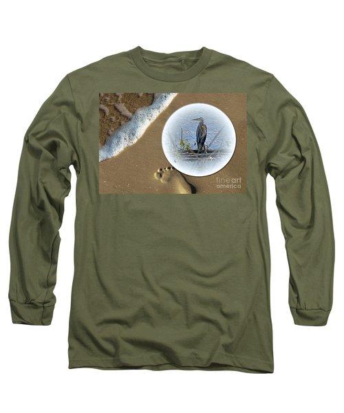 Beached Heron Long Sleeve T-Shirt