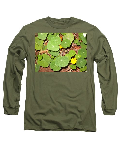 Beautiful Round Green Leaves Of A Plant With Orange Flowers Long Sleeve T-Shirt
