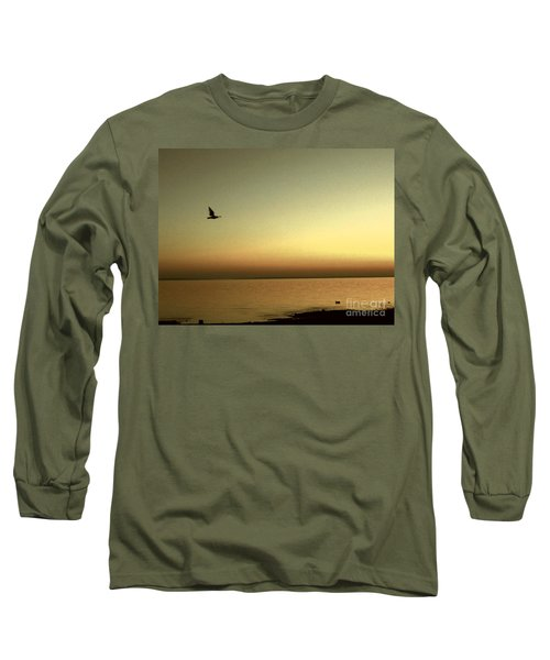 Bird At Sunrise - Sepia Long Sleeve T-Shirt by Desiree Paquette