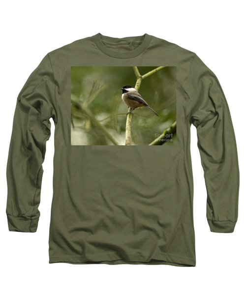 Black-capped Chickadee With Branch Bokeh Long Sleeve T-Shirt