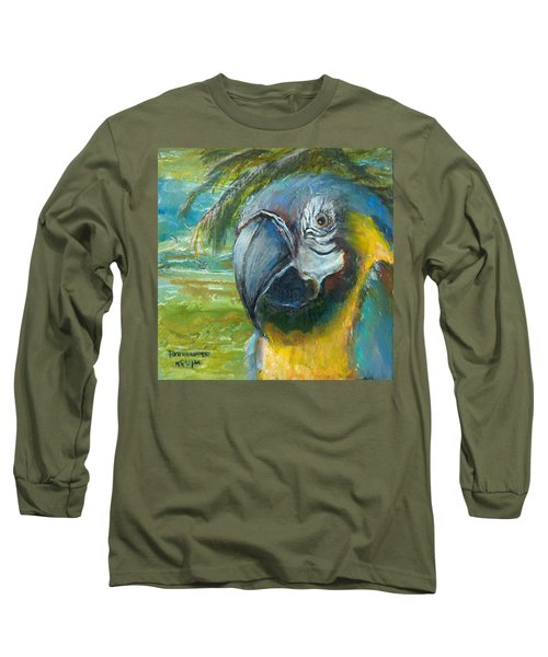 Blue And Gold Macaw By The Sea Long Sleeve T-Shirt by Bernadette Krupa