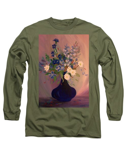 Blue Flowers 2 Long Sleeve T-Shirt by Christy Saunders Church