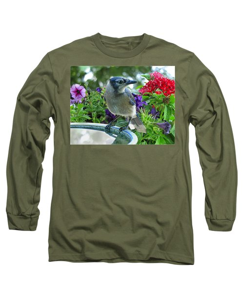 Long Sleeve T-Shirt featuring the photograph Blue Jay At Water by Debbie Portwood